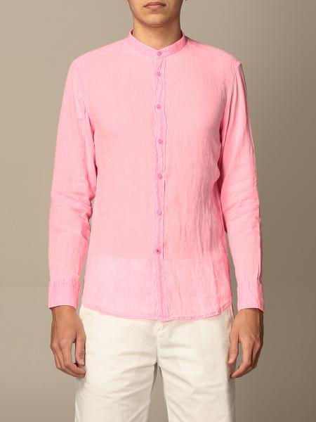 Baronio shirt in linen with mandarin collar