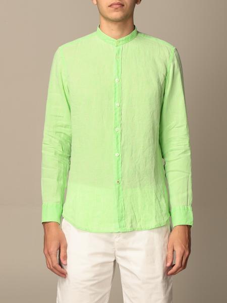 Baronio uomo: Camicia Baronio in lino con collo alla coreana