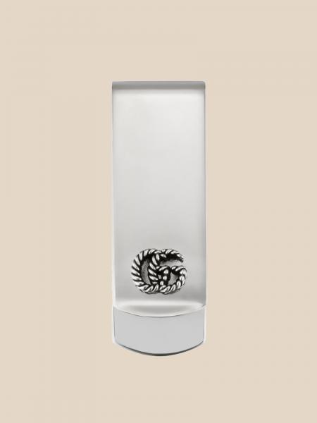 Gucci men: Gucci silver money clip with GG logo