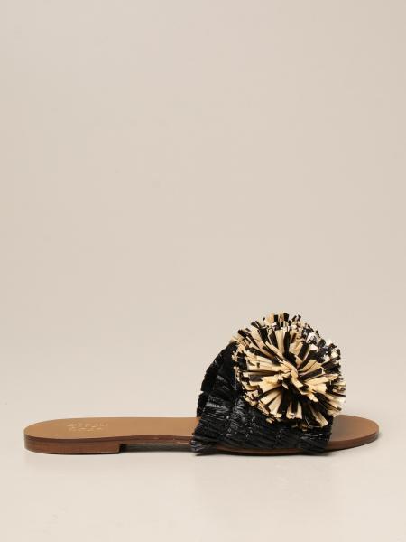Gipsy Rose: Sandalo Gipsy Rose in rafia con maxi pompon