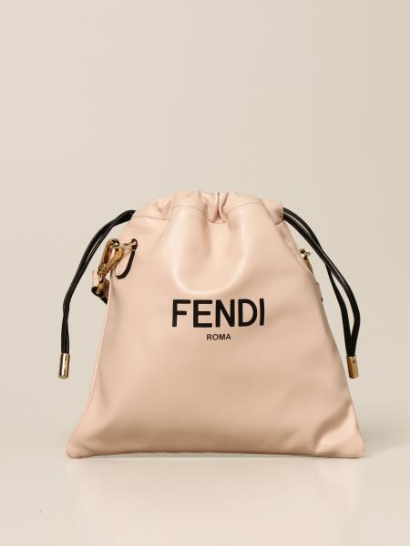 Fendi: Borsa a sacchetto Fendi in nappa con logo