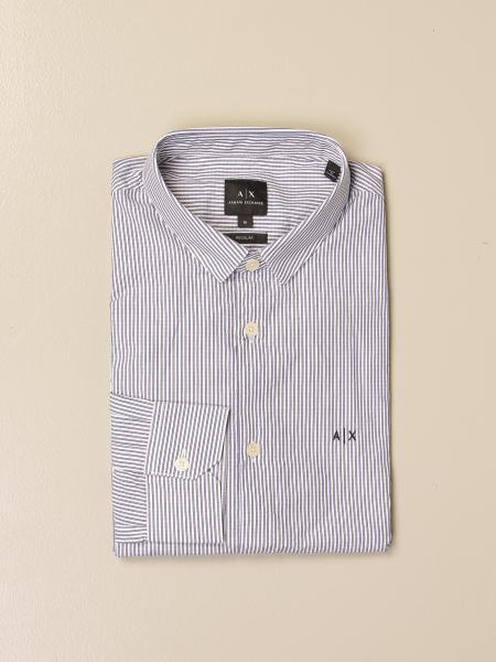 Armani Exchange shirt in striped cotton poplin