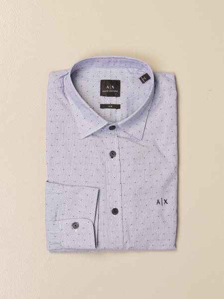Armani Exchange shirt in cotton poplin with micro polka dots