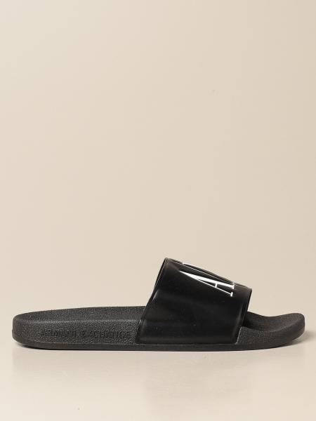 Armani Exchange slipper sandals in rubber with logo