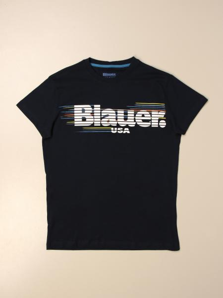 Blauer cotton T-shirt with logo print