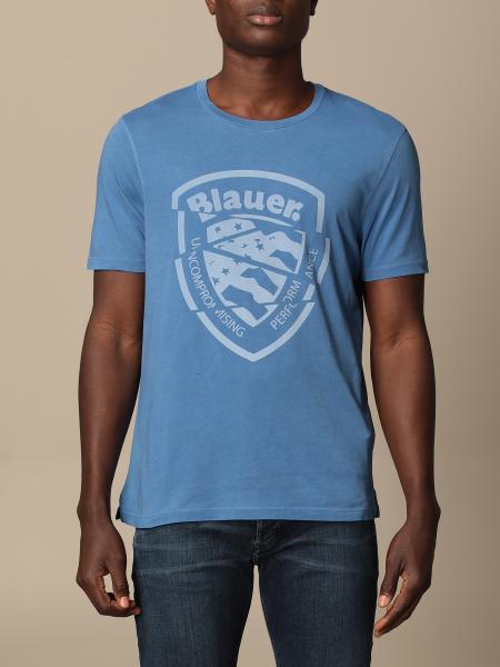 Blauer cotton t-shirt with logo