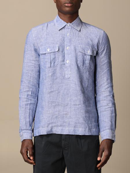 Blauer linen polo shirt