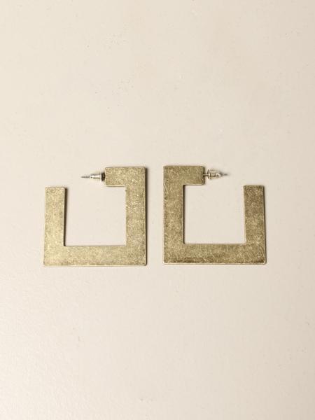 Allujewels: Square earrings in aluminum jewels in brass