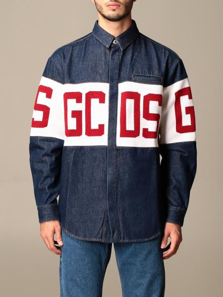 Gcds men: GCDS denim shirt with big logo