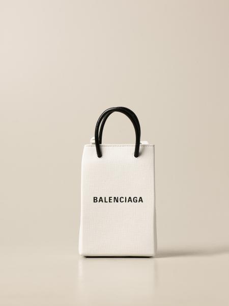 Balenciaga: Balenciaga mobile phone bag in leather with logo