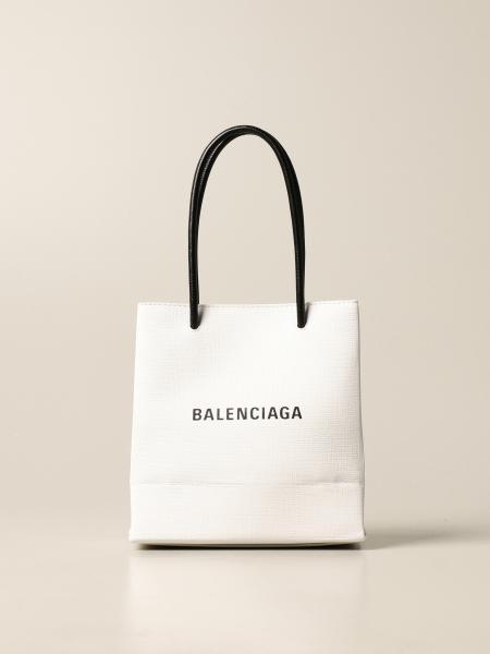 Balenciaga xxs shopping tote bag in leather with logo