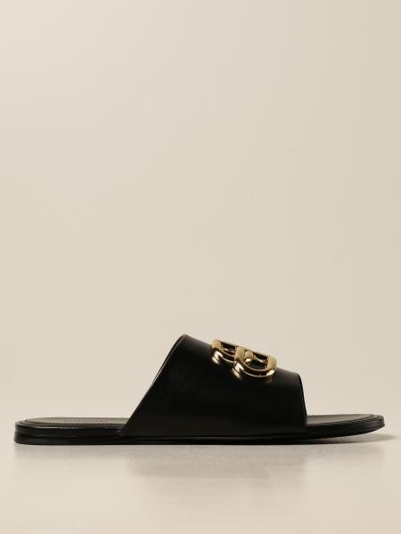 Balenciaga: Balenciaga Oval BB sandal in leather with logo