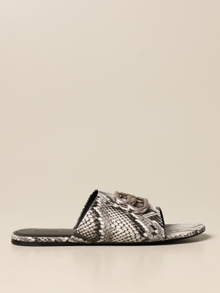 Balenciaga: Balenciaga Oval BB sandal in leather with python print