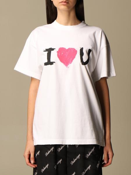 Balenciaga: Balenciaga cotton T-shirt with I Love U print