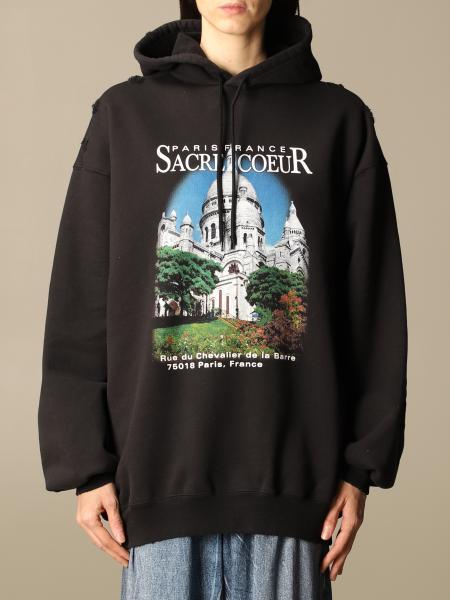 Balenciaga women: Balenciaga cotton sweatshirt with Notre-Dame print