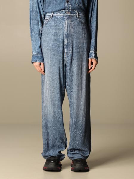 Balenciaga women: Balenciaga wide jeans in used denim