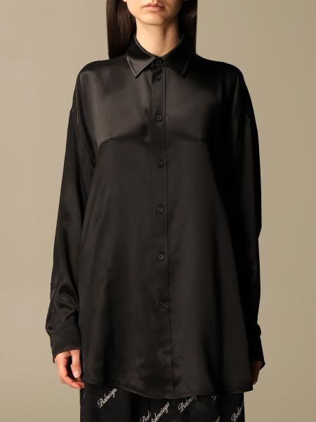 Balenciaga: Balenciaga silk shirt with back logo