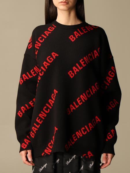 Balenciaga: Balenciaga crewneck pullover with all over logo