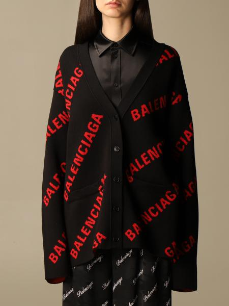 Balenciaga donna: Cardigan a v Balenciaga in cotone con logo all over