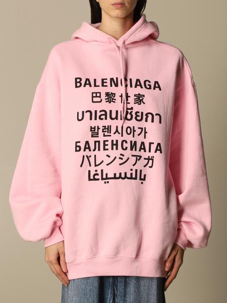 Balenciaga women: Balenciaga cotton sweatshirt with multi-language logo print