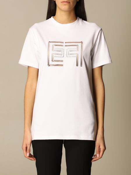 Elisabetta Franchi cotton T-shirt with perforated logo
