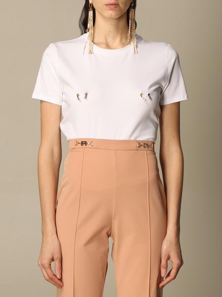 Elisabetta Franchi t-shirt in cotton with piercing