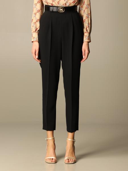 Elisabetta Franchi donna: Pantalone Elisabetta Franchi in crêpe con cinta