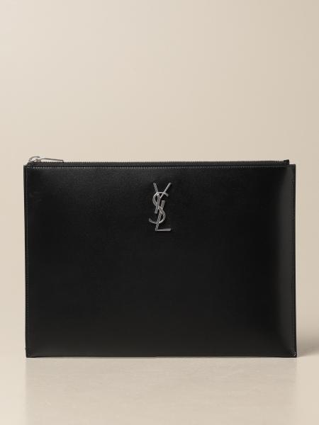 Saint Laurent: Saint Laurent pouch in crocodile print leather