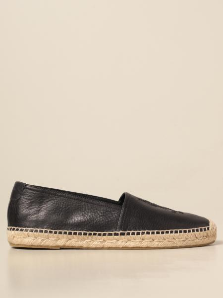 Saint Laurent espadrilles in grained leather with stitched logo