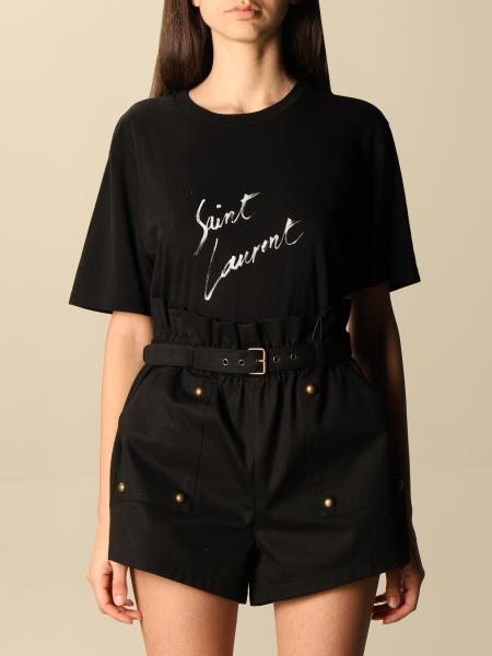 Saint Laurent donna: T-shirt Saint Laurent in cotone con logo