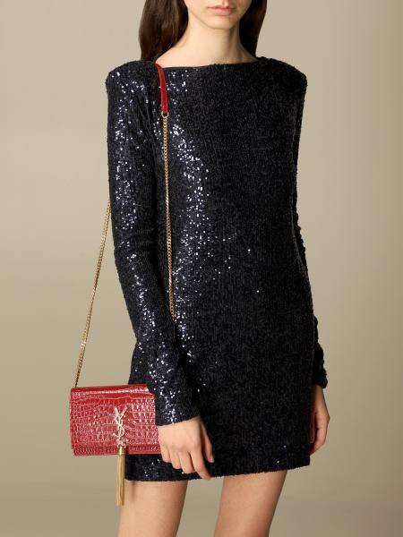 Saint Laurent women: Kate Monogram Saint Laurent bag in crocodile print leather