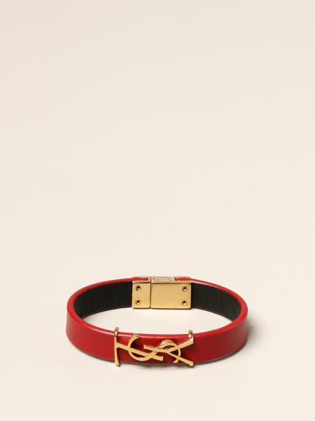 Saint Laurent: Saint Laurent leather bracelet with YSL monogram