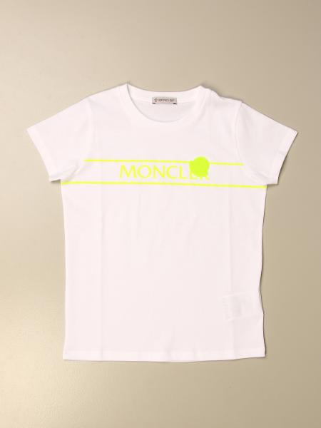 Moncler: Moncler cotton T-shirt with fluo logo