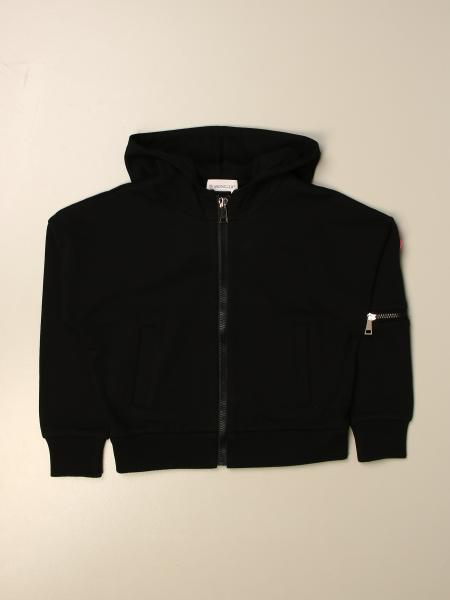 Moncler sweatshirt with zip in stretch cotton