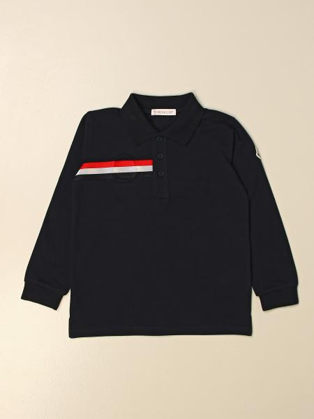 Moncler basic polo shirt in cotton with striped band