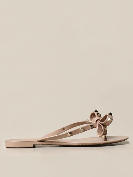 Valentino Garavani Rockstud thong sandal with bow