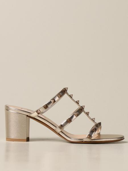 Valentino Garavani Rockstud sandal in laminated leather with studs