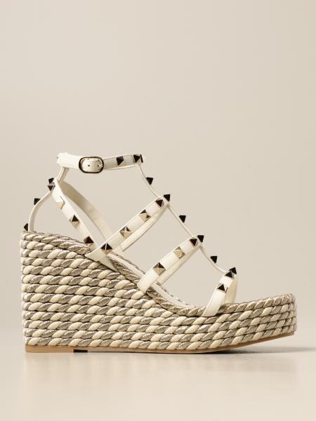 Valentino Garavani Rockstud wedge in leather with studs