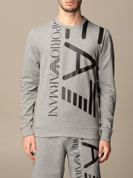 EA7 stretch cotton sweatshirt with big logo