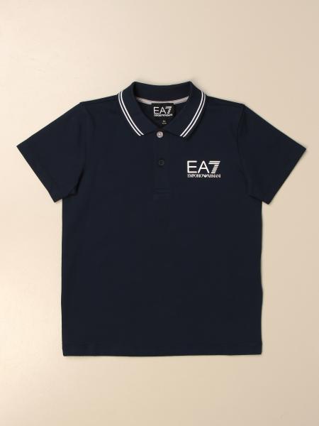 EA7 polo shirt in pique cotton with logo