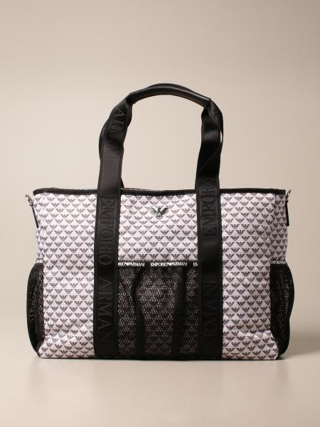 Diaper Mama's bag Emporio Armani in tela con logo all over