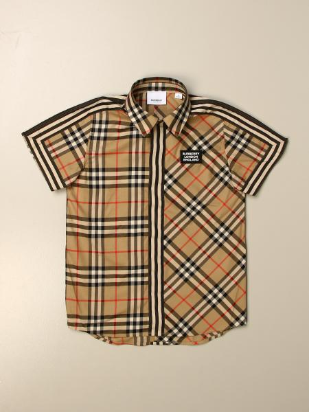 Burberry kids: Burberry shirt in cotton with vintage check motifs patchwork