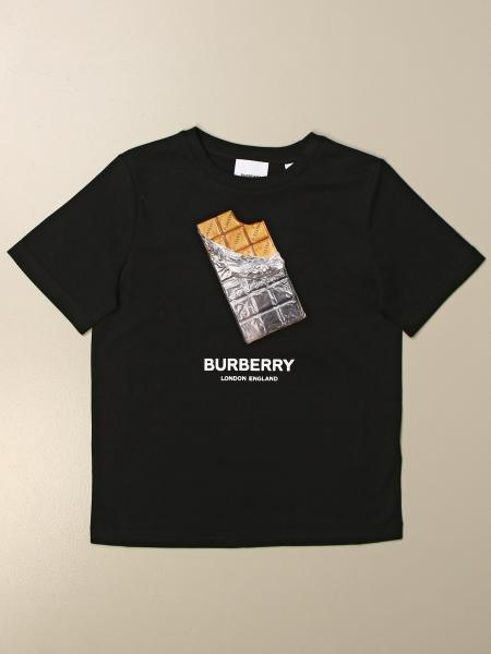 Burberry kids: Burberry cotton t-shirt with chocolate print