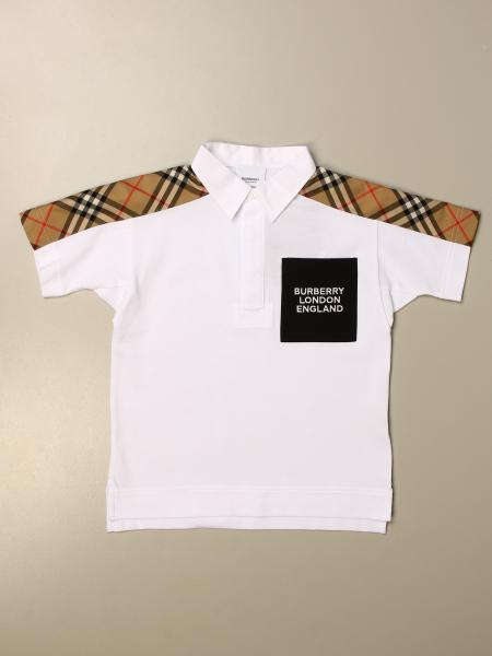 Burberry kids: Burberry polo shirt in piqué cotton with vintage check inserts
