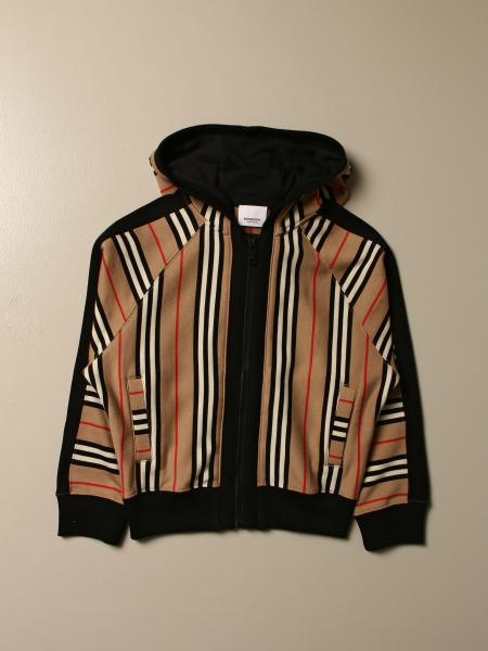 Burberry kids: Burberry sweatshirt with hood and striped pattern