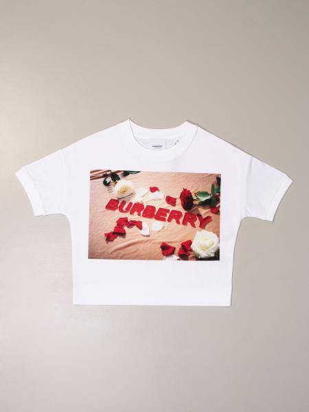 Burberry kids: Burberry cropped t-shirt with logo print