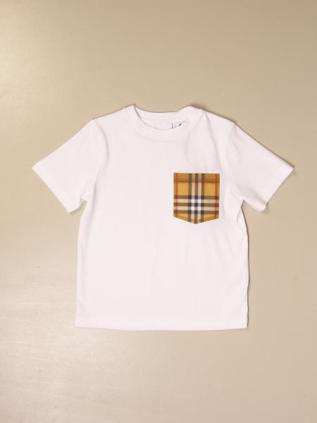 T-shirt Burberry in cotone con taschino check