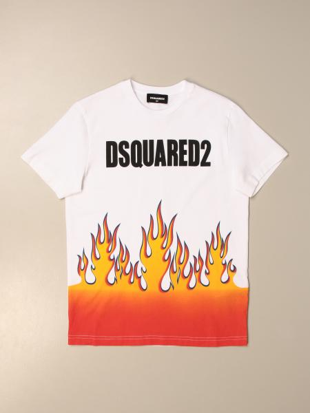 Dsquared2 Junior T-shirt in cotton with flame print