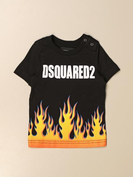 T-shirt Dsquared2 Junior in cotone con stampa fiamme