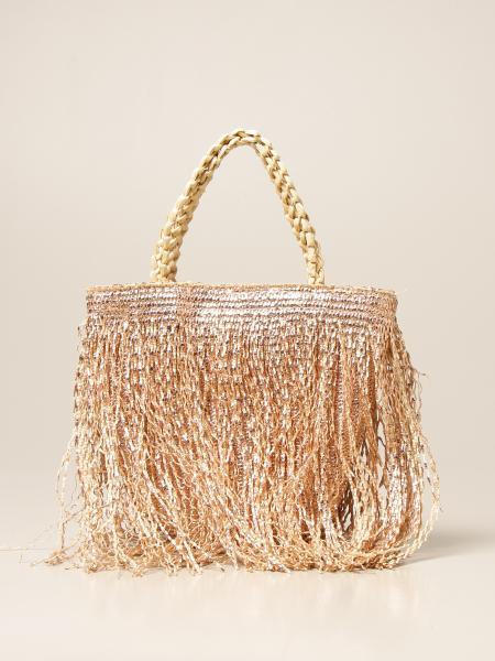 Via Mail Bag: Borsa Via Mail Bag in rafia con frange laminate